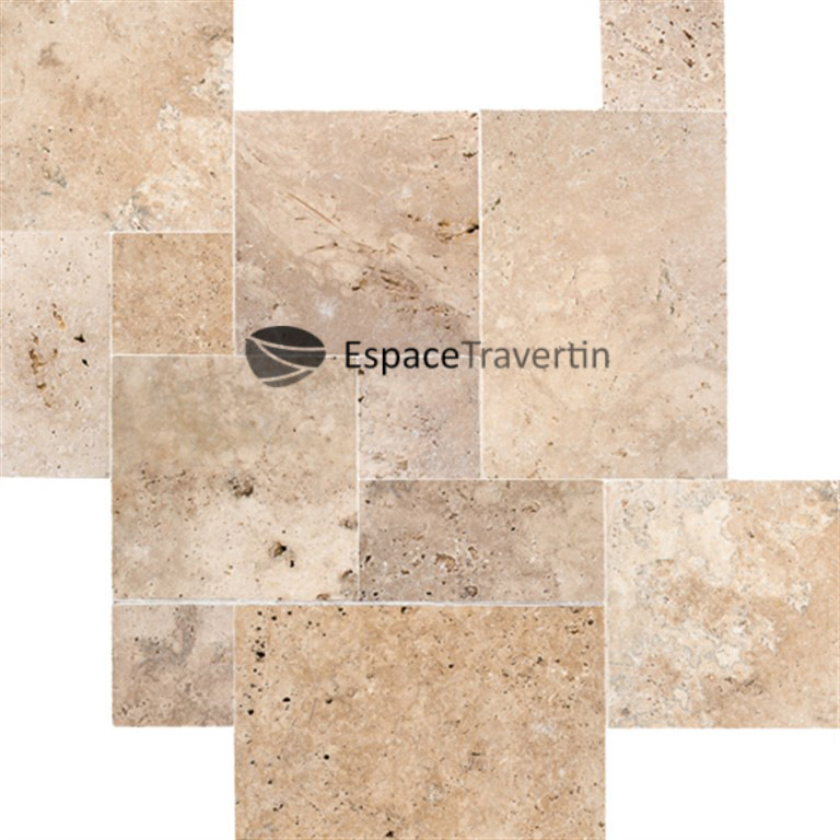 Travertin opus romain 4 format carrelage en pierre naturelle for Salle de bain en travertin