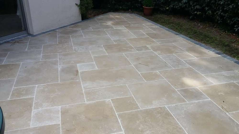 Travertin big opus romain 4 format second choix espace for Carrelage opus romain