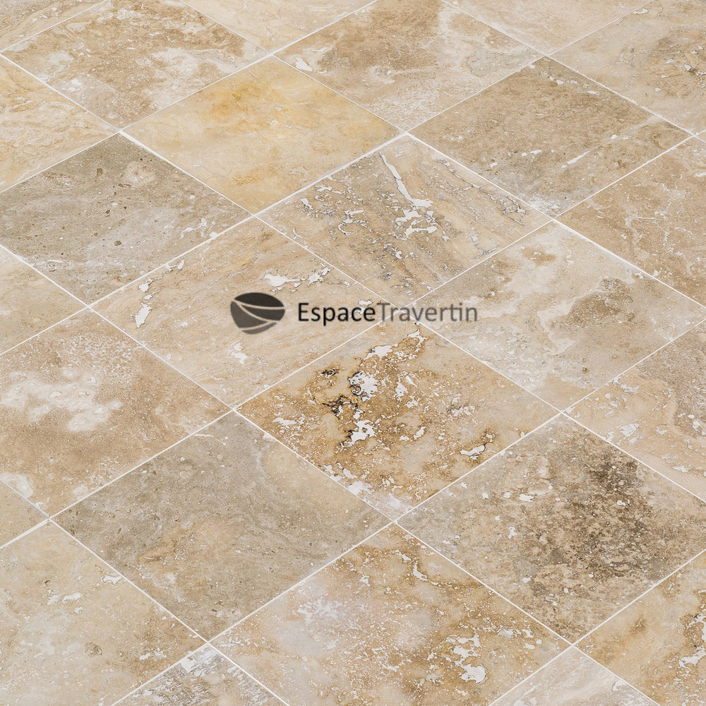 carrelage travertin en pierre naturelle format 20x20 coloris mix